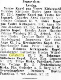 Wilhelmines begravelse i Nationaltidende 2. februar 1918