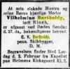 Nekrolog for Wilhelmine 1. februar 1918